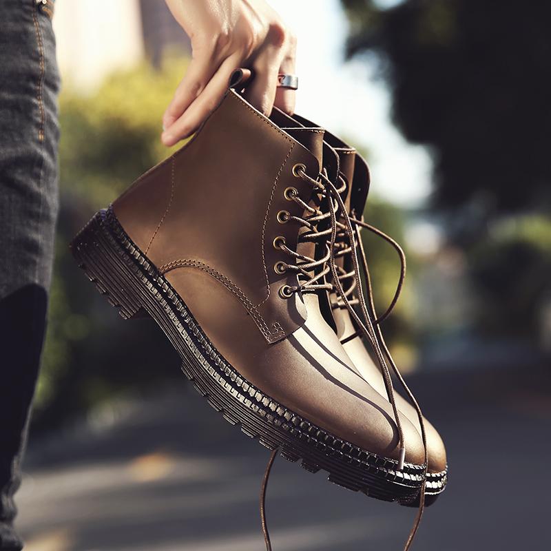 马丁靴男高帮鞋男短靴韩版潮流冬季百搭休闲真皮靴男英伦工装靴子
