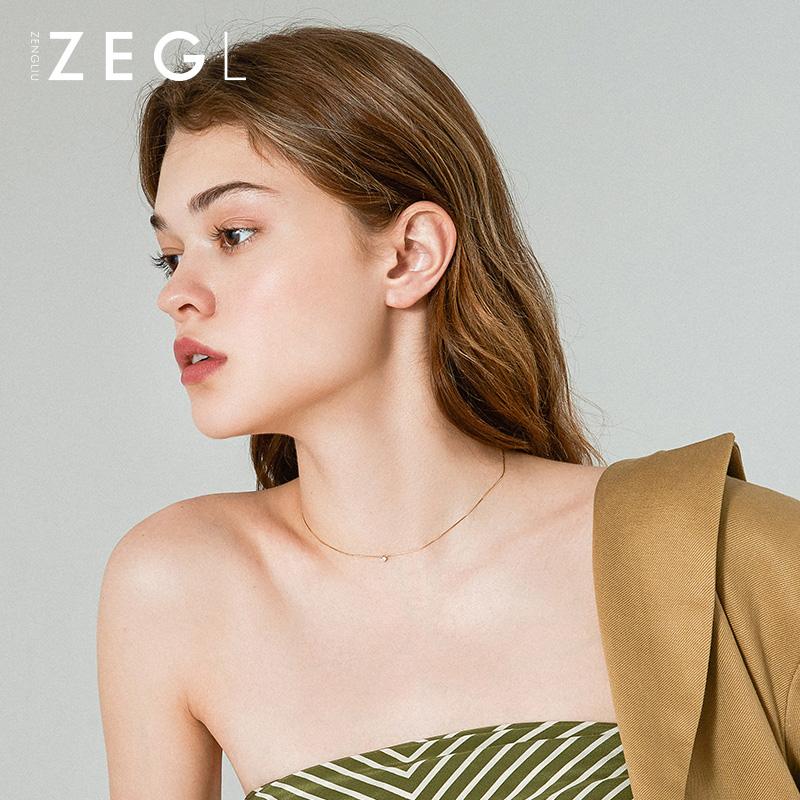 女简约气质脖链冷淡风锁骨链网红颈链颈饰 ins 纯银项链 ZENGLIU925