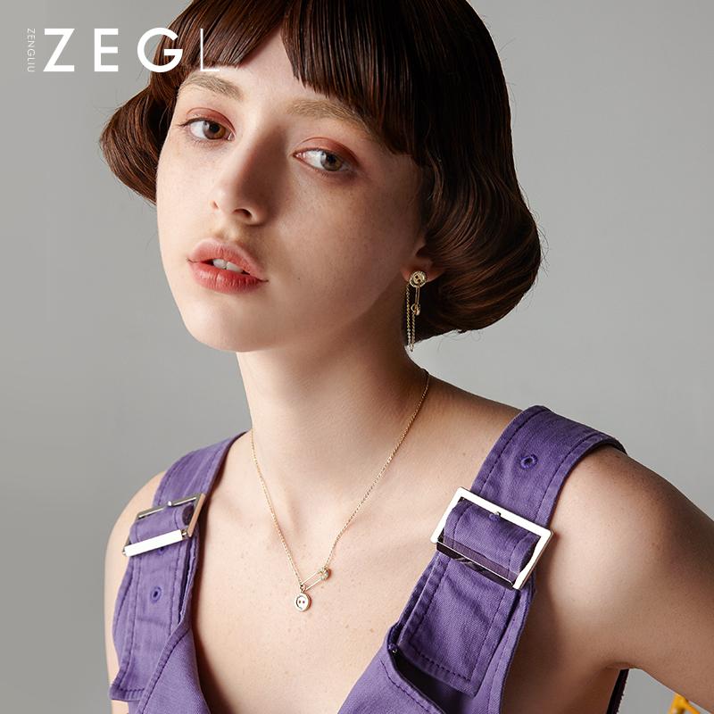 小众设计别针项链女锁骨链网红冷淡风简约定制国潮配饰品 ZENGLIU