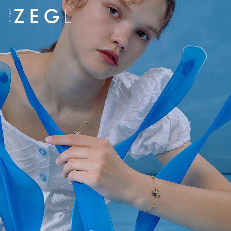 小众设计手饰女森系甜美网红流行饰品 银彩虹独角兽手链  ZEGL925 ins