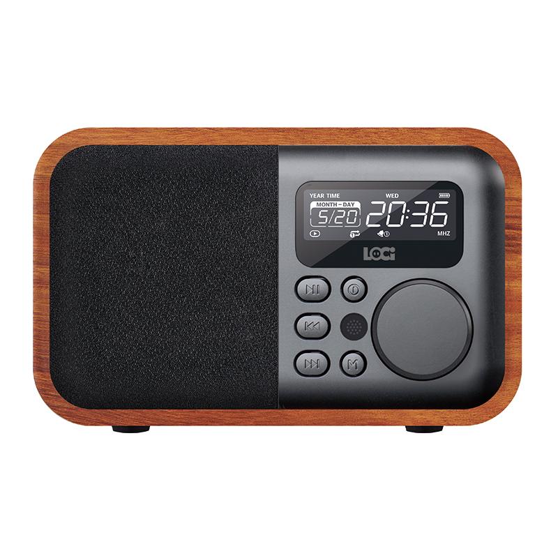 朗技 D90复古收音机木质小蓝牙音箱老式怀旧防古台式闹钟