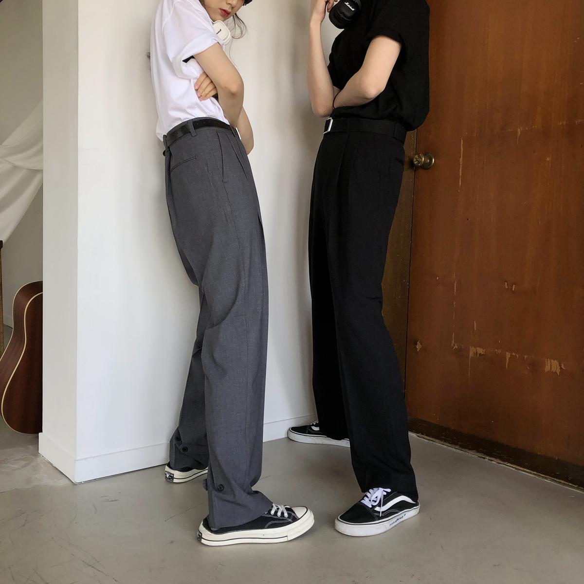 MPstudios 夏季休闲裤男韩版潮流纯色百搭阔腿裤直筒宽松裤子  19