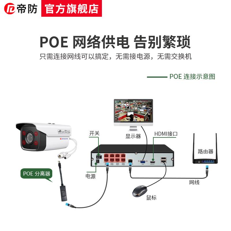 帝防POE供电硬盘录像机8路网络数字高清NVR远程监控器主机4路家用