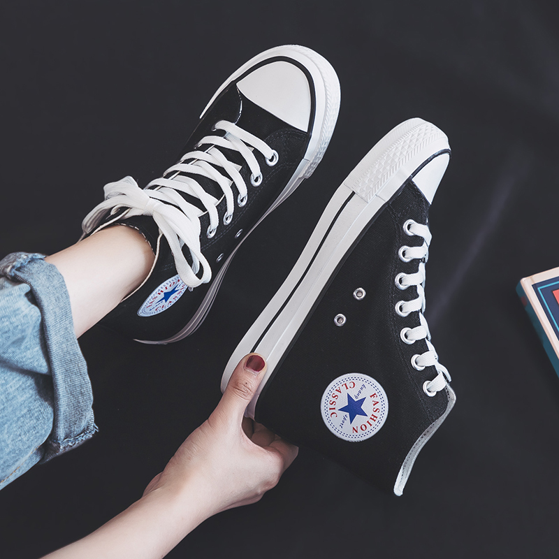 增高6厘米帆布鞋女2020夏秋新款高帮学生韩版棉鞋板鞋内增高布鞋