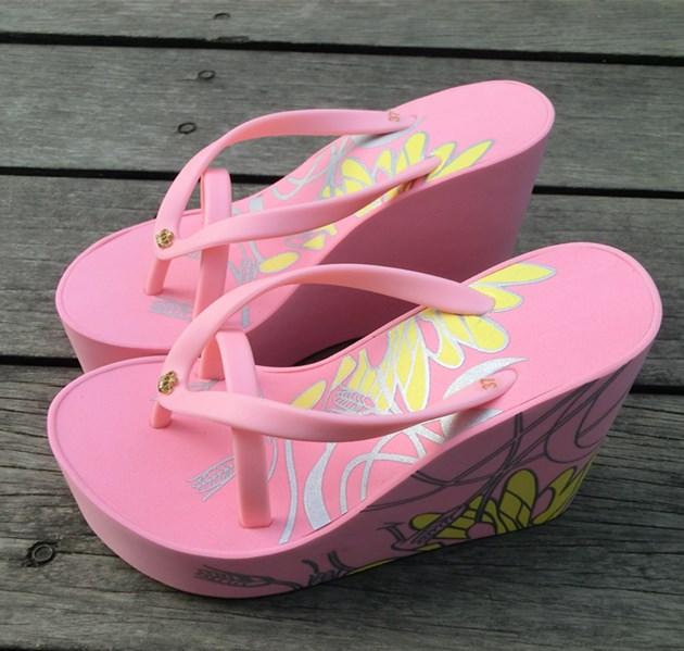 32 33-42 43碼高跟厚底人字拖鞋女夏防滑沙灘拖鞋舒適坡跟拖鞋