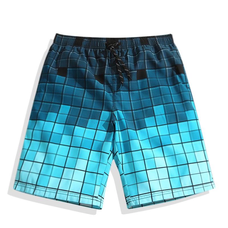 速浪情侣男大码速干沙滩裤夏季休闲裤格子五分居家运动短裤女宽松
