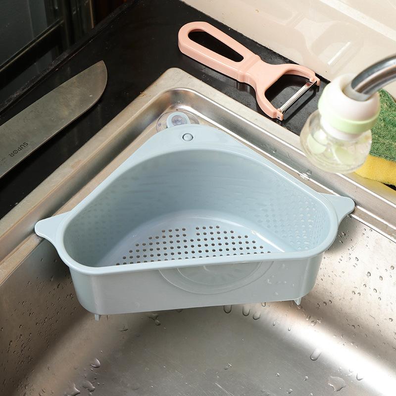 三角水槽沥水篮吸盘式转角厨房置物架厨房用品家用大全抹布收纳篮