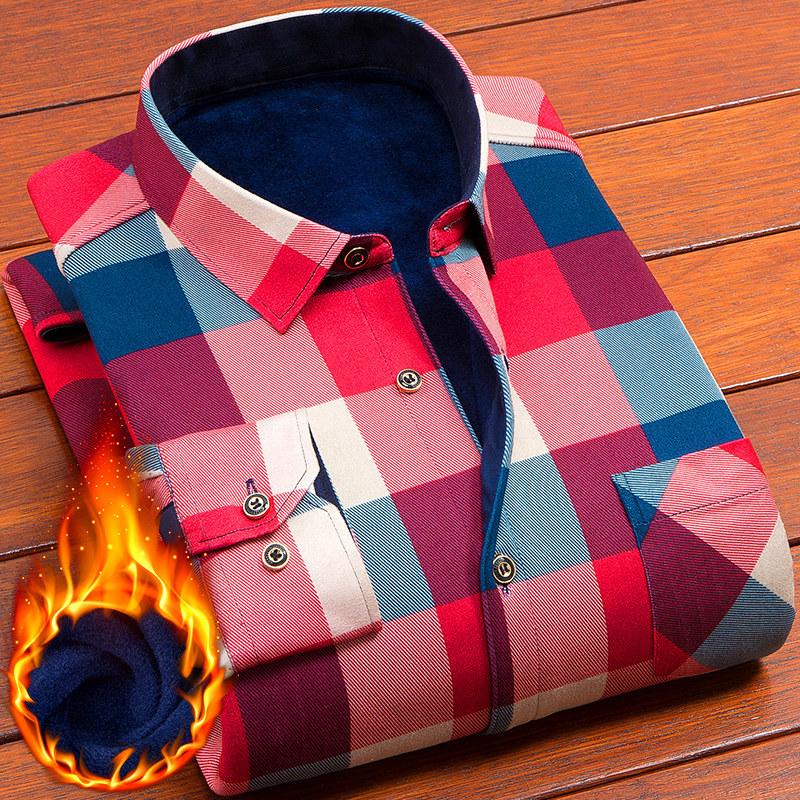暖爱冬款青中年男士保暖加绒加厚衬衫 男长袖爸爸装加厚格子衬衣