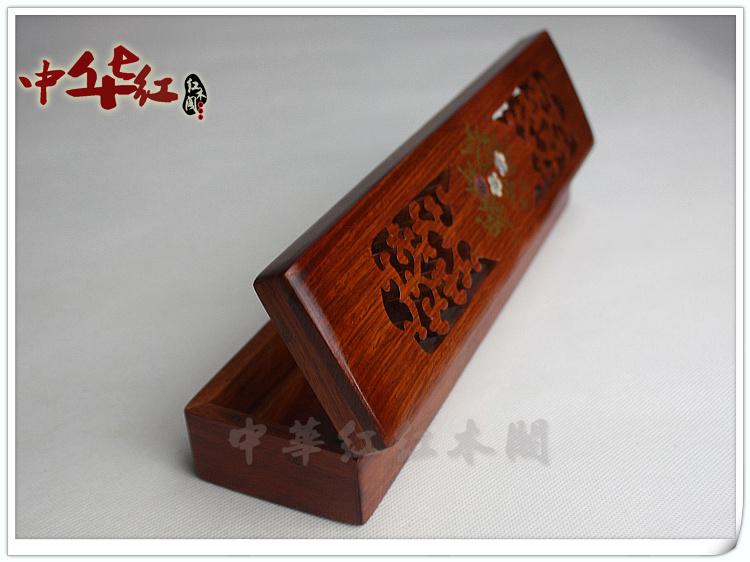 缅甸花梨镶贝筷子盒 大果紫檀木质筷子笼架 红木工艺品家用餐具盒