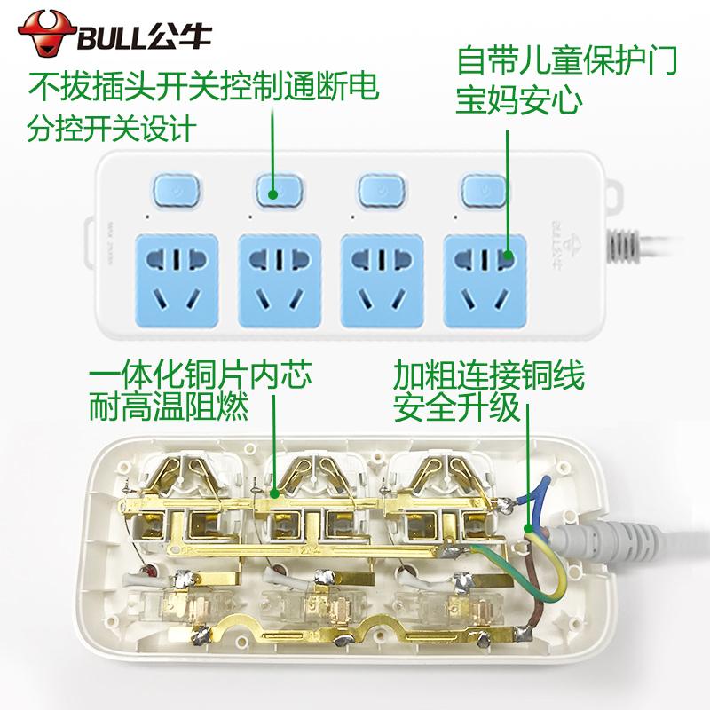 公牛插座家用独立开关正品拖接线板多功能电插排插板带线1.8/3米5