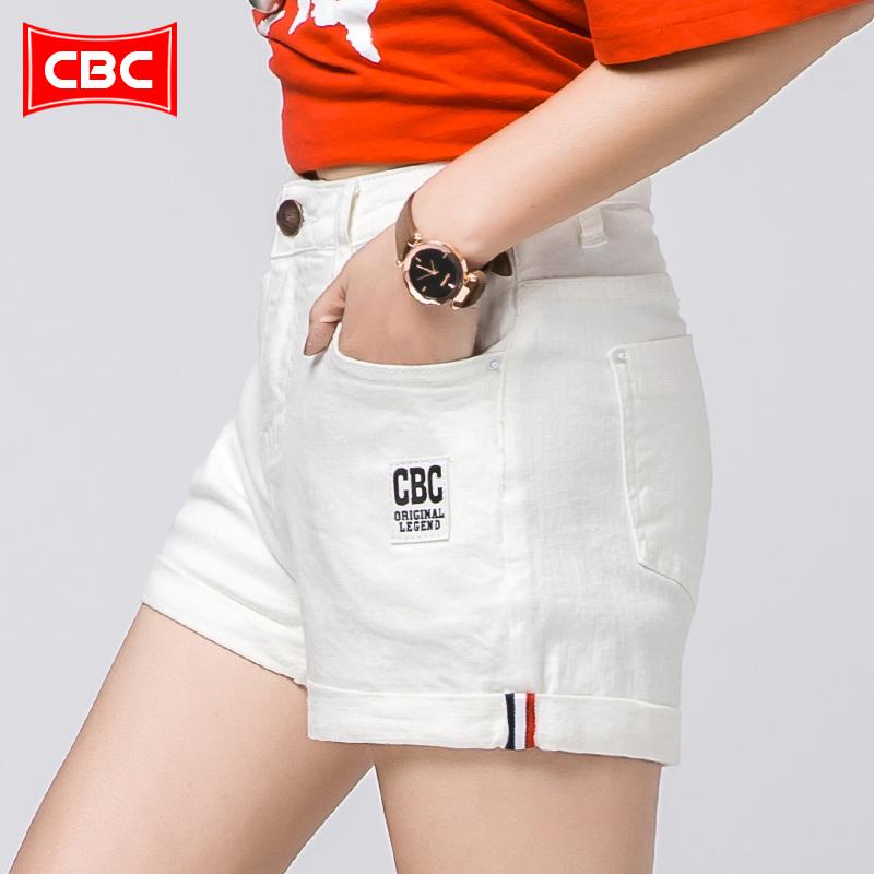 新款春夏超高弹力牛仔短裤女白色卷边韩版修身显瘦高腰热裤 CBC