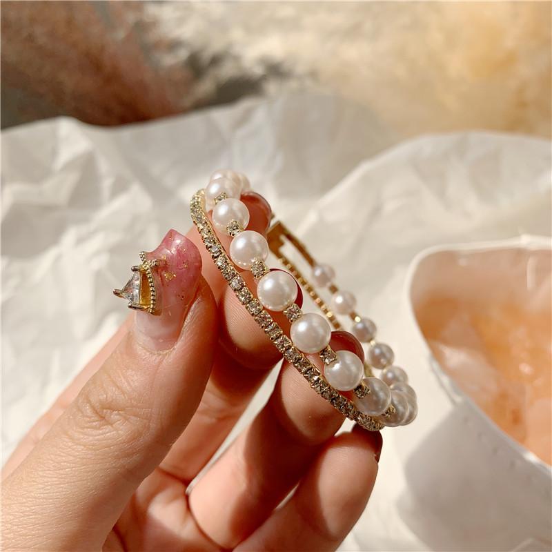 韩国东大门双排钻珍珠开口手镯日韩饰品简约食指环网红镯子女手链