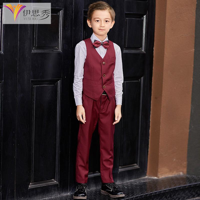 伊思秀男童表演礼服马甲套装儿童花童西装小学生钢琴演出服三件套