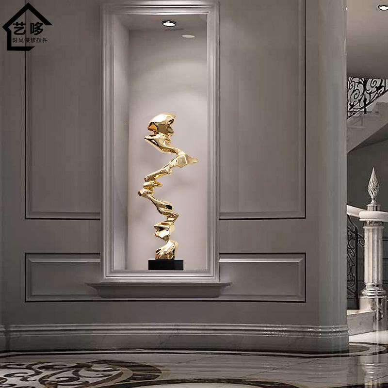 樹脂會所客廳現代抽象雕塑玄關擺件酒店樣板房藝術品創意家居軟裝