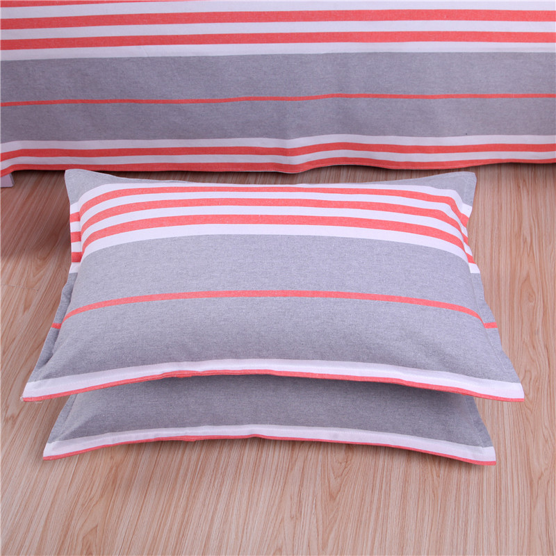 特价清仓加厚加密棉手工老粗布枕套一对装条纹格子四季款