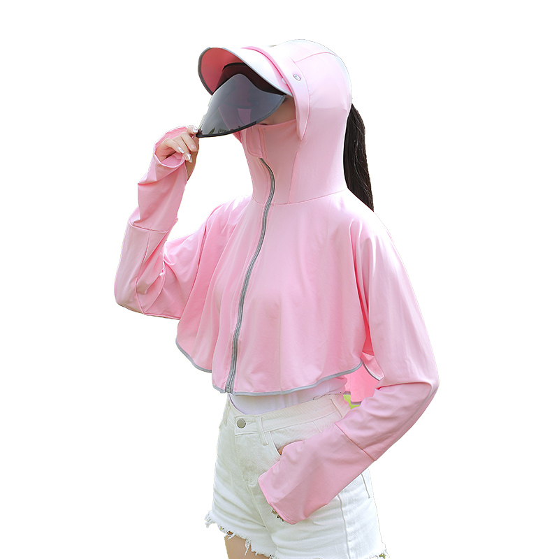 防晒衣女2020夏季新款薄长袖防紫外线透气骑车冰丝斗蓬防晒衫外套