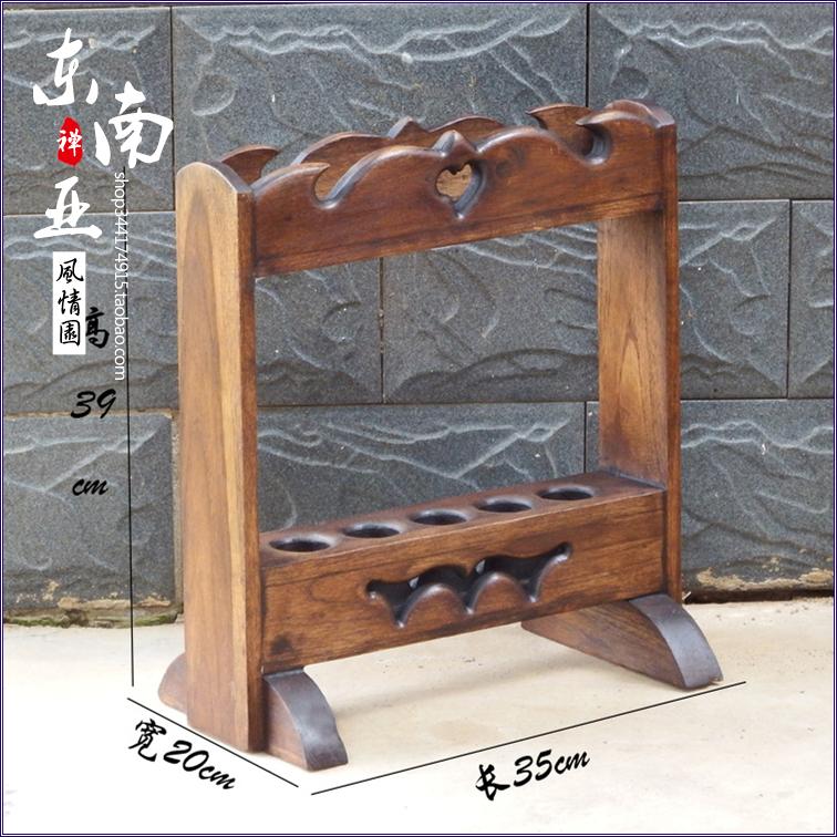 泰国木雕实木镂雕站立家用雨伞架特色门店木制现代中式收纳架摆件