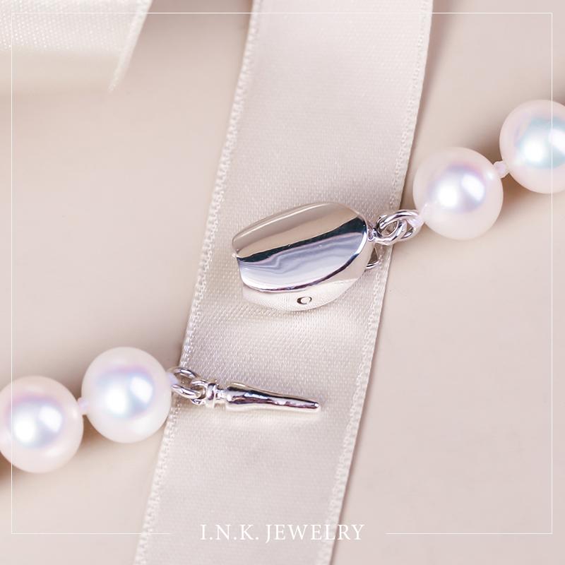 银搭扣颈饰女 925 珍珠 8.5mm 7.5 淡水珍珠巴洛克珍珠项链 珠宝 INK