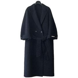 黑夜兰色韩国高端双面羊绒大衣女中长款2019冬季新款宽松毛呢外套
