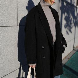 手缝纯色双面羊绒大衣女短款小个子2019秋冬反季宽松羊毛呢外套