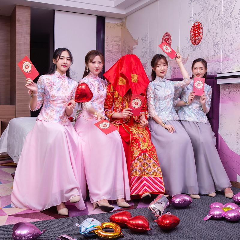 伴娘礼服女2019新款仙气姐妹裙套装复古旗袍修身长款中式中国风夏