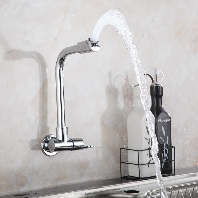 全铜厨房水龙头 水槽水龙头 厨房龙头单冷万向入墙式洗菜盆水龙头