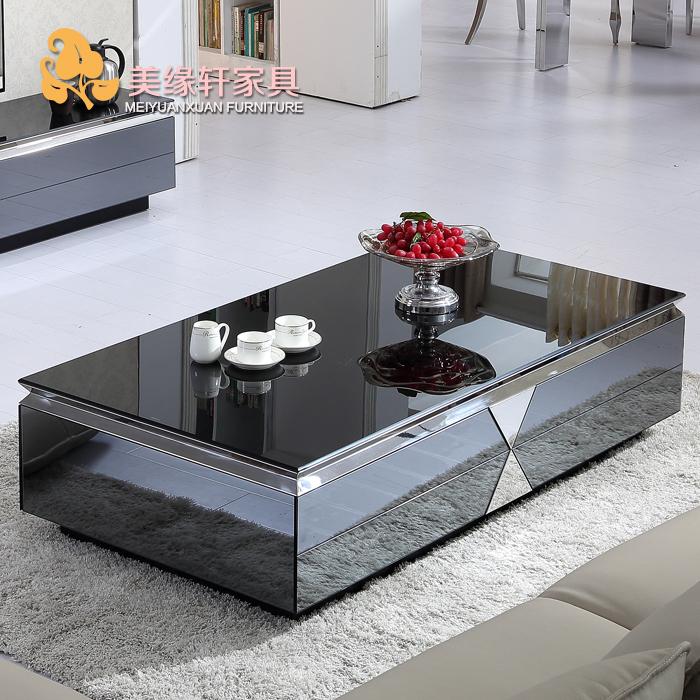 簡約現代茶几鋼化玻璃客廳不鏽鋼黑色儲物桌小戶型茶几電視櫃組合