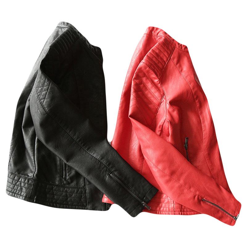 2018新款春秋皮衣女短款pu皮外套修身皮夹克机车女装显瘦海宁红色