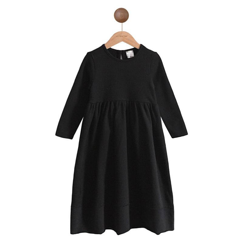女童秋冬季连衣裙童装儿童公主裙中大童加绒加厚黑色长袖百褶长裙