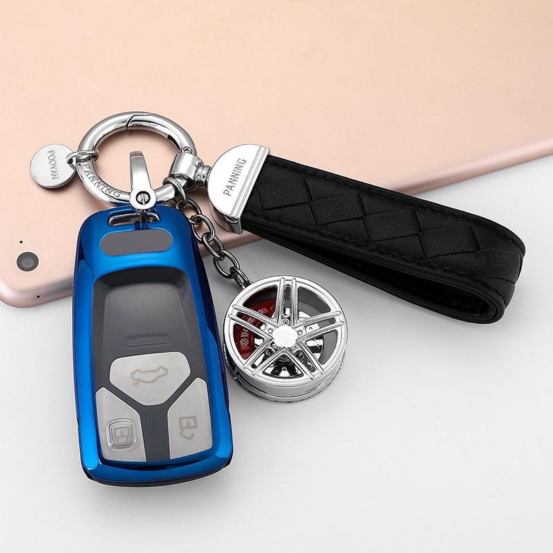 适用2017新奥迪钥匙扣A4L壳TT钥匙包A5保护套Q7汽车钥匙套男女