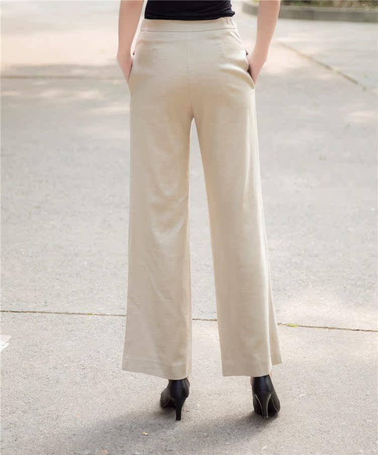 典雅妈妈春夏中式休闲裤九分阔腿裤中年人女士棉麻侧松紧裤唐装