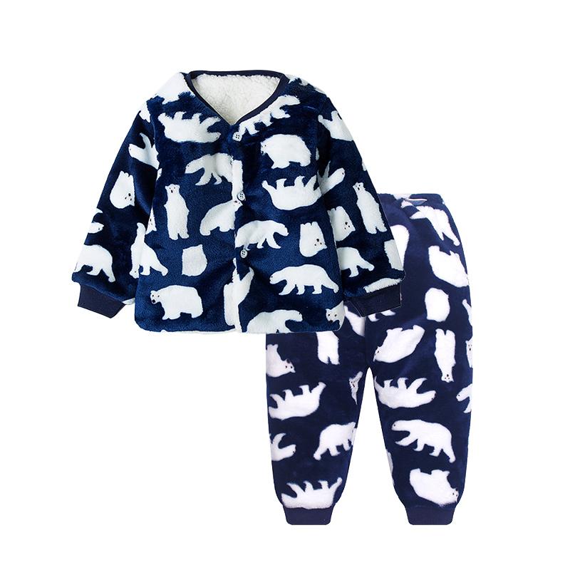 男童棉服套装婴儿珊瑚绒宝宝秋冬季女童家居衣服小儿童法兰绒睡衣