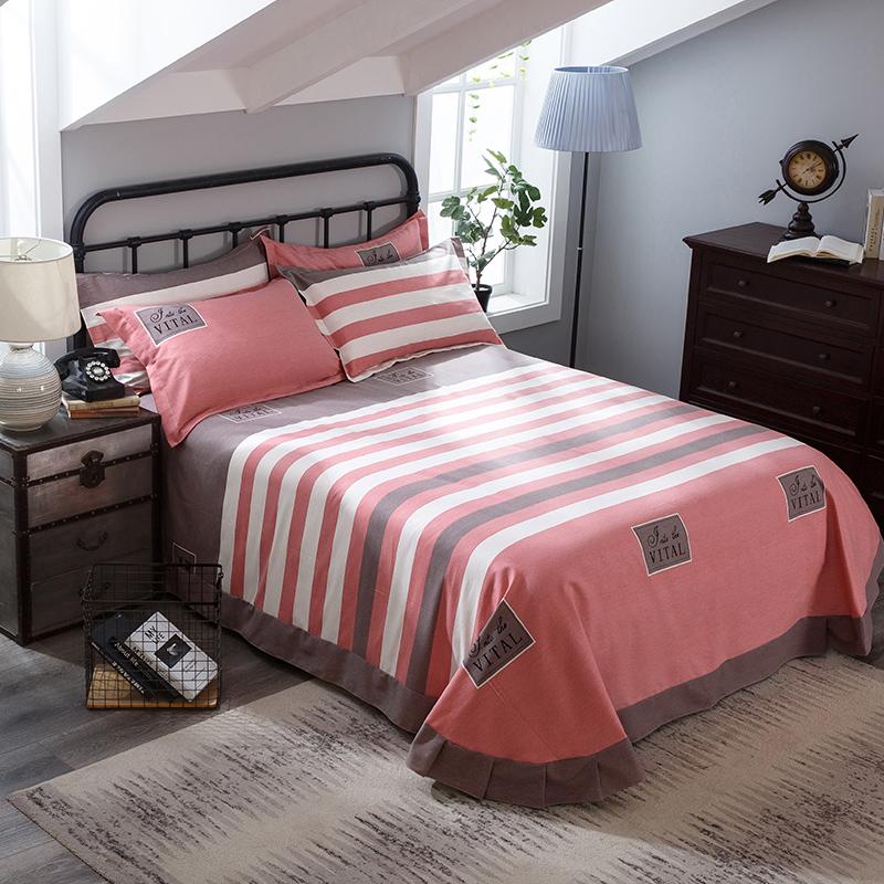 纯棉床单单件学生单人双人加大磨毛床单加厚全棉被套枕套布料包邮