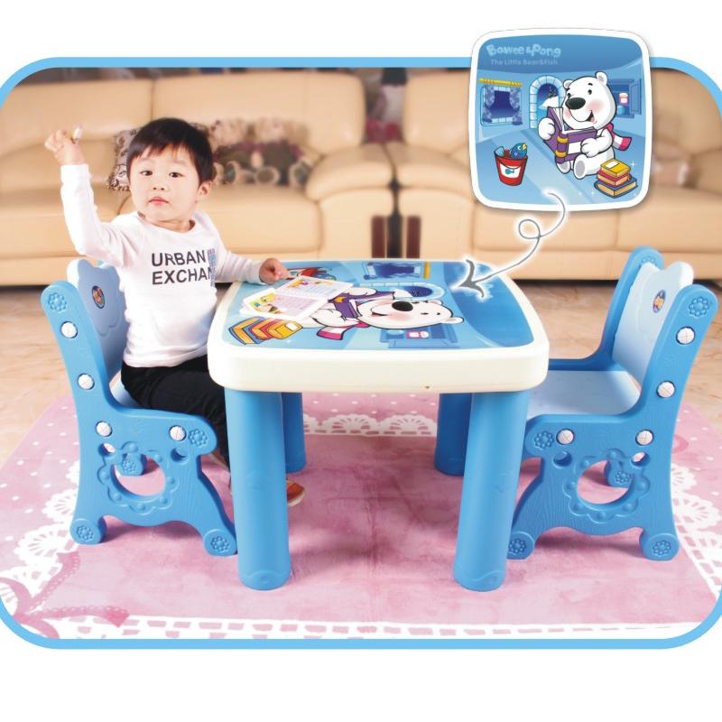 宝宝书桌吃饭桌儿童桌椅套装幼儿园塑料学习桌子椅子玩具游戏桌子