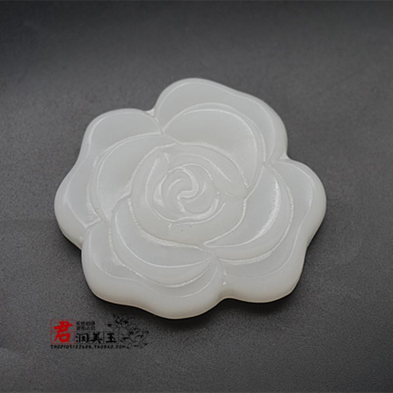 阿富汗白玉玫瑰花吊坠挂件颈饰 女款花朵花开富贵玉佩玉