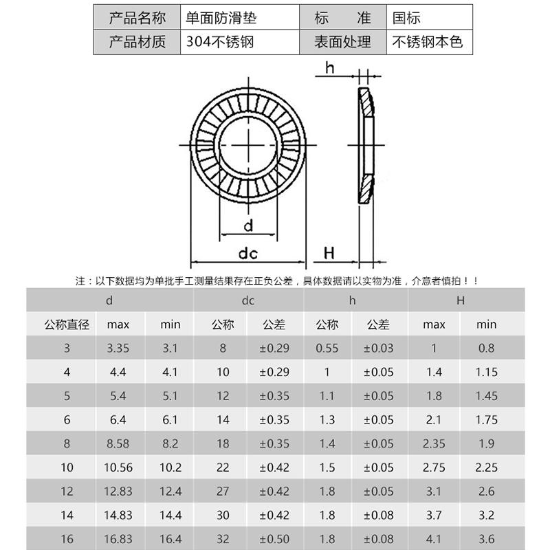 304不锈钢鞍形/蝶形单面花齿垫圈防滑垫片M3M4M5M6M8M10M12M16M20