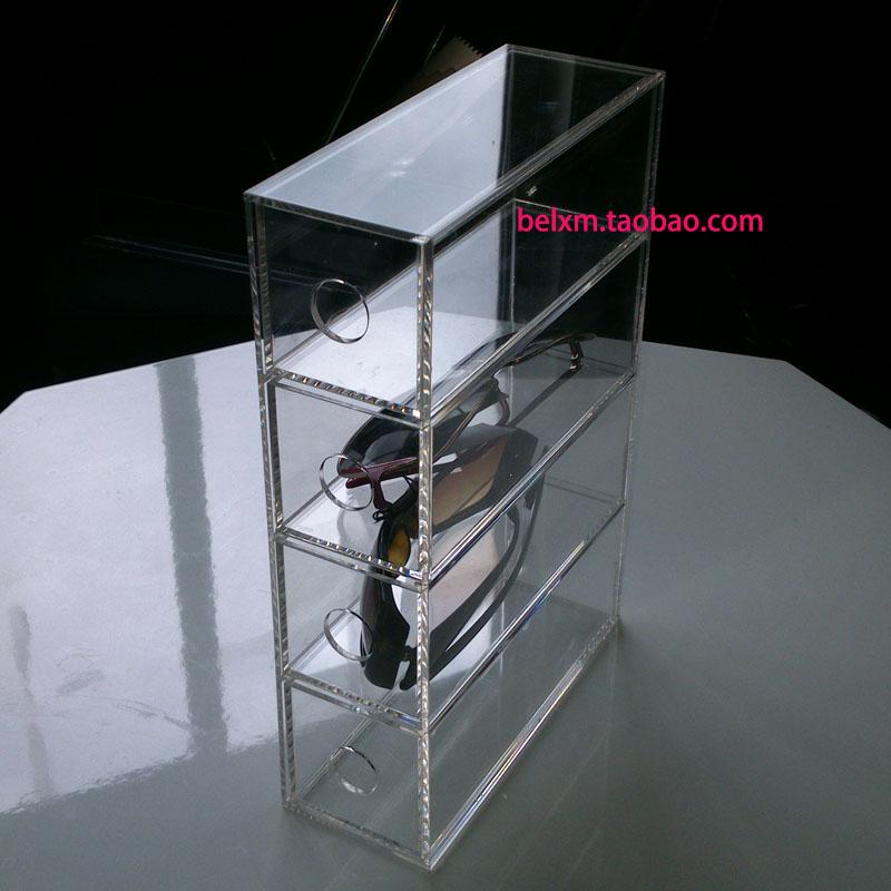 亚克力透明4层眼镜盒 银行老花镜摆放盒  饰品收纳盒眼镜收纳