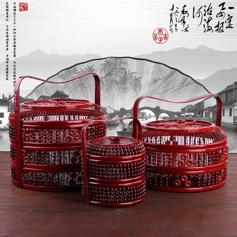 竹編仿古提籃 月餅籃 送飯籃 水果籃 竹製食盒 紅色婚慶禮品籃