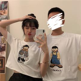夏季2020新款可爱日系情侣装宽松露脐短款小熊短袖T恤上衣女ins潮
