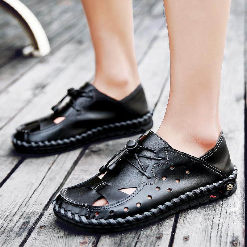 夏天特大码男鞋休闲洞洞真皮凉鞋加肥加宽拖鞋45沙滩鞋46胖子鞋47