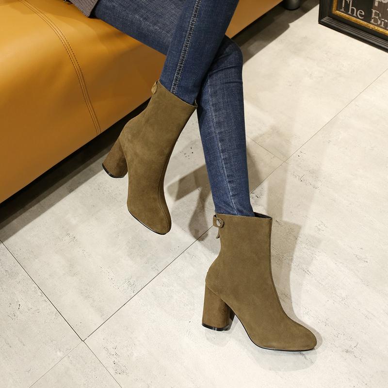 韩版新品秋冬潮磨砂皮粗跟女短靴新款高跟单靴子后拉链裸靴及女鞋