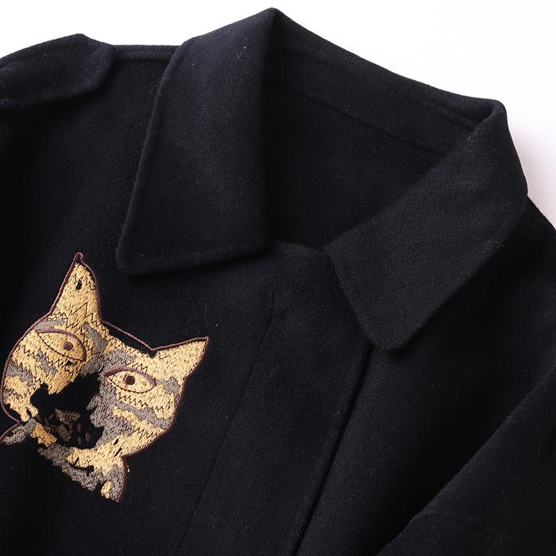 帕波仕蒂2019海宁羊毛呢大衣韩版短款女装新款双面毛呢休闲外套春