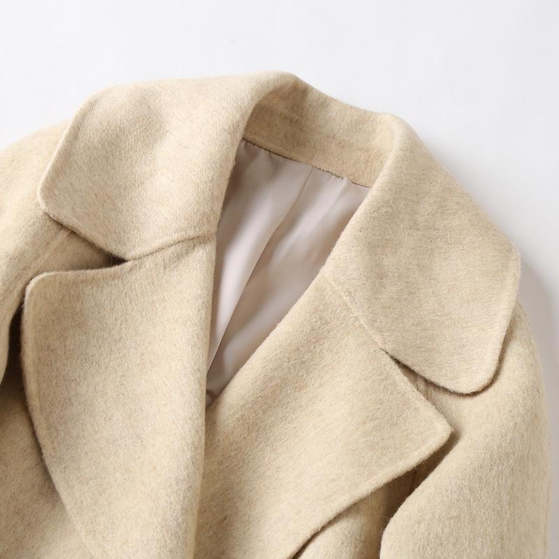 帕波仕蒂 2018春季新款阿尔巴卡大衣双面呢羊驼毛女士毛呢外套潮