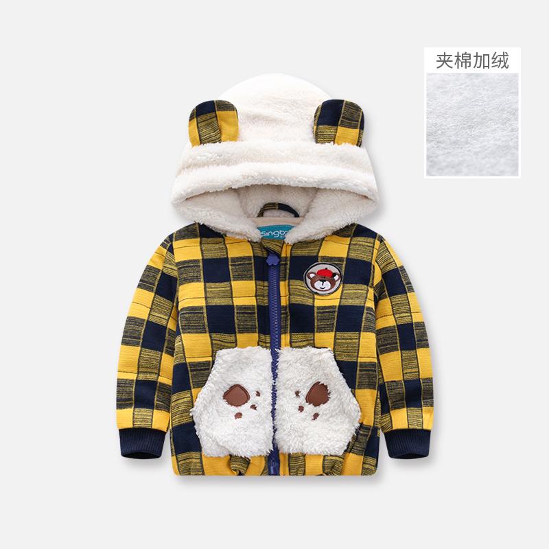 冬款男童格子连帽棉服儿童宝宝上衣女童休闲棉袄婴幼儿保暖棉衣服