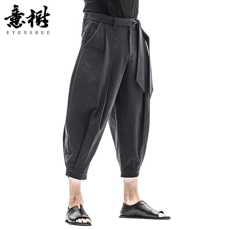 意树2017夏季新款中式男裤七分系带裤原创青年束脚7分休闲裤子男