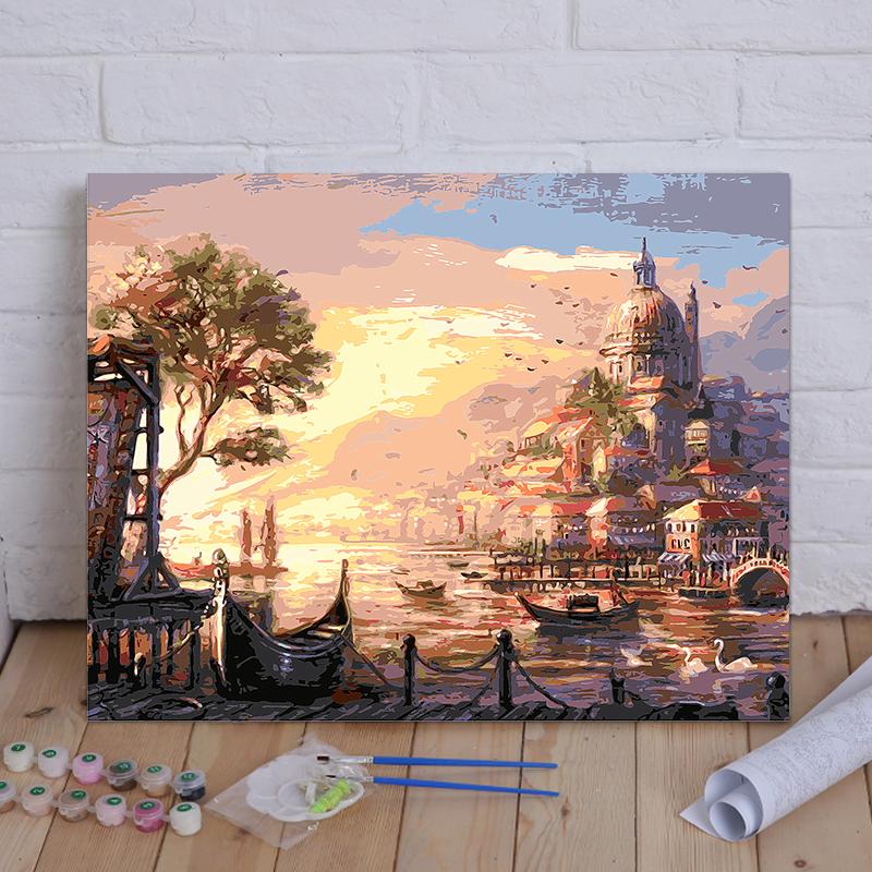 diy數字油畫風景大海客廳臥室數碼填色手工繪裝飾油彩畫 日落海邊