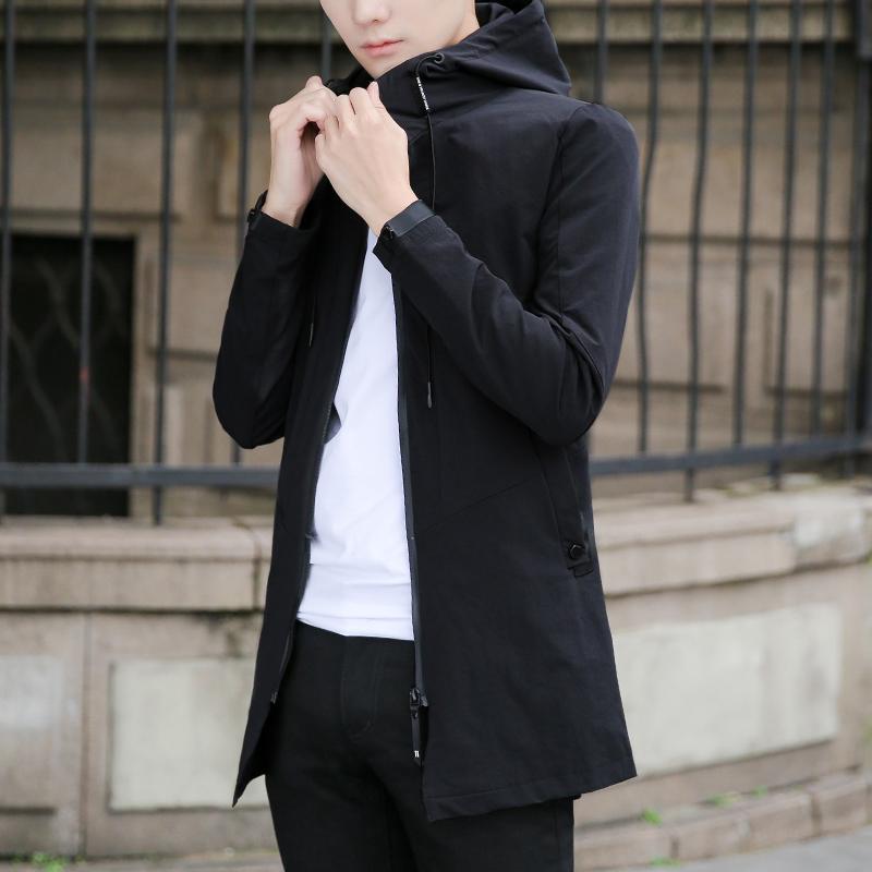 秋季純色外套休閑修身型男士中長款上衣夾克薄 2018 青年連帽風衣男