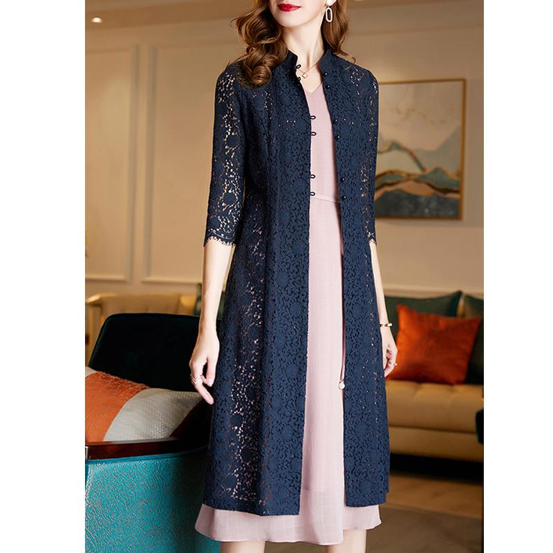 水墨青华 春季新款时尚百搭七分袖中长款蕾丝开衫外套女  2020