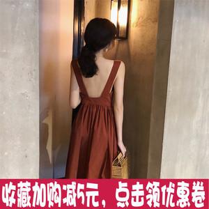 夏季新款复古韩国Chic气质方领高腰收腰性感露背大摆吊带连衣裙女