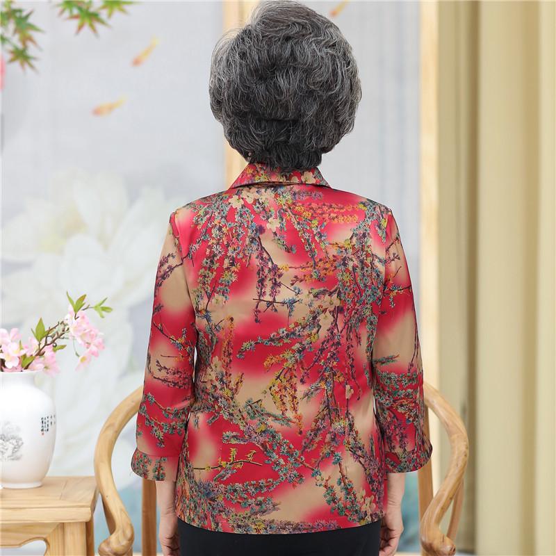 妈妈真丝印花衬衫中老年人女春夏装薄款香云纱七分袖上衣